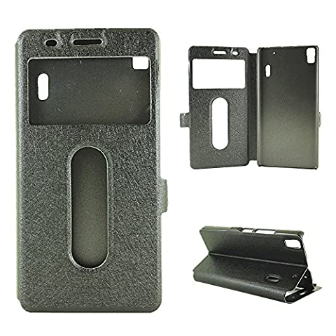 YHUISEN Solid Color PU Leather with Stand Double Open Window Silk Pattern Protective Case for Lenovo K3 Note(Answer or Refuse Calls Without Opening the Cover) ( Color : Black )