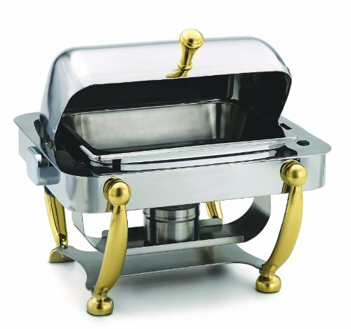 Dome-chafer (Alegacy AL530A Stainless Steel Savoir Half Size Dome Cover Chafing Dish with Brass Legs, 17 by 15-1/8 by 15-5/8-Inch)