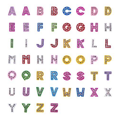 PandaHall 52 stücke Zinklegierung Grade A Strass Alphabet A-Z Dia-Charme Buchstaben Dia-perlen Charms für DIY Handwerk Flache Armband Armbänder Halskette Halsreif Schmuckherstellung