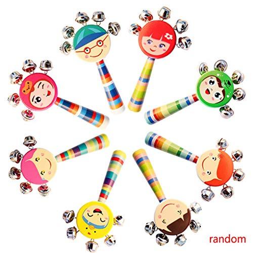 Deinbe Baby-Lächeln Gesichter Natürliche Holz Handglocken Rasseln Ausbildung Klingel Ring Spielzeug für Kinder/Kinder zufällige Farbe (Baby-rassel Natürliche)