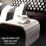 DRULINE Sofatablett MDF Flexablage Tablett Ablage Armlehnen Sofa Couch Ablage Weiß