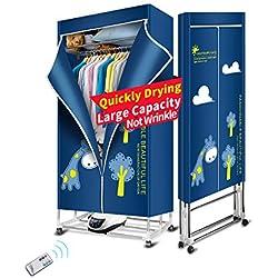 KASYDoFF Séchoir à linge portable 3 niveaux pliable 1200Watts Économie d'énergie (Anion) 1,7 m Sèche-vêtements Minuteur automatique numérique avec pour appartement ou maison