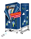 Kasydoff Clothes Dryer Portable 1.7 Meters Electric Foldable Clothes Drying Rack 1200W Energy Saving (Anion) 3-Tier Clothing Dryers Digital Automatic Timer for Apartment