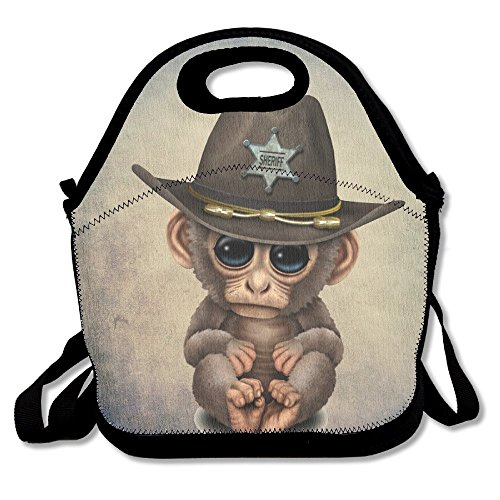 Doormats-shirt Monkey Gentleman Hat Portable Lunch Box Bag Insulated Waterproof School Handbag for Women, Adults, Kids,and Girls