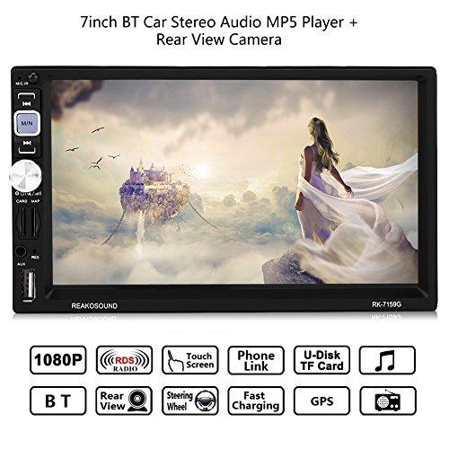 7 Pouces 2DIN BT Autoradio Stéréo de Voiture, Lecteur MP5 de Voiture HD avec HD Écran Tactile Supporte Bluetooth/AM / FM/RDS / Fonction de Navigation AUX/GPS / Contrôle Carré/Caméra de Vision