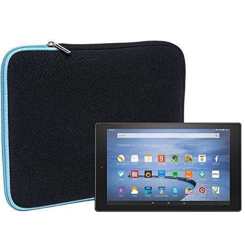 Slabo Tablet Tasche Schutzhülle für Amazon Fire HD 10 Hülle Etui Case aus Neopren – TÜRKIS/SCHWARZ