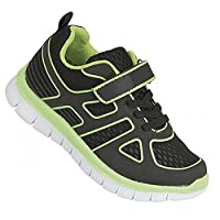 Dek Childrens/Kids Glow Lite Touch Fastening And Elasticated Lace Trainers (13 Child UK) (Black/Lime)