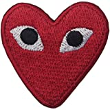 "Embird ""PLAY"" COMME des GARCONS Red Heart Eyes Iron On / Sew On Embroidered Patch"