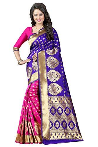 Shiya Tassar Silk Saree With Blouse Piece (Pari 1 Blue Pink_Blue And...