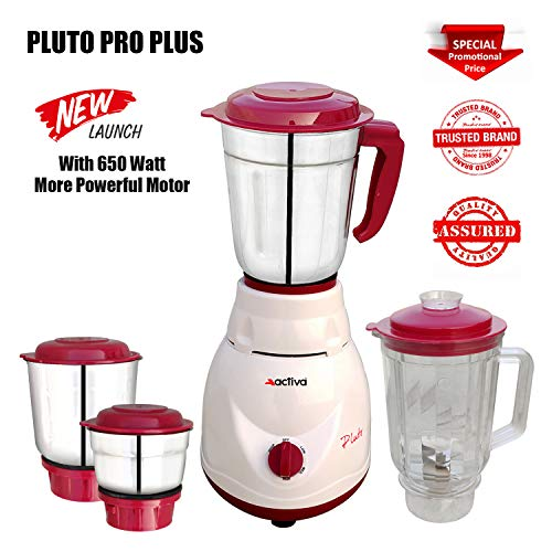 ACTIVA Pluto PRO Plus 4 JAR 650 WATTS Full ABS Body Mixer Grinder (White)