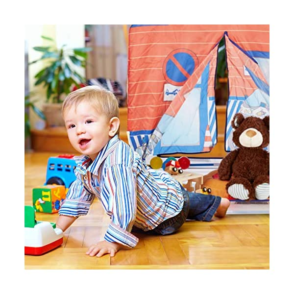 Relaxdays Police Station Play Tent for Children, Outdoors, 3 and Up, Fabric Kids Playpen HWD 102 x 72 x 95 cm, Blue-Red Relaxdays Large: This red and blue play tent with 2 entries measures H x W x D app. 102 x 72 x 95 cm With print: Police station tent - Print with police car and dog - Perfect for playing detective Lots of fun: The non-toxic play tent provides loads of fun for kids aged 3 and up 3