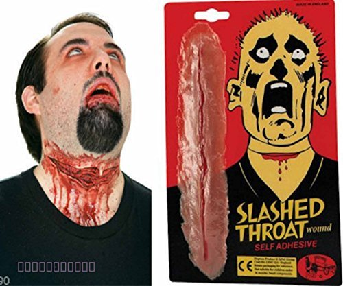 Card and Party Store Fake Slashed Throat Wound Halloween Special Effects Make Up Zombie Fancy ()