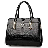 BestoU Ladies Handbags PU Leather Crossbody Women Shoulder Bags (Black)