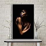 XCSMWJA Ritratto di Donna Africana Nuda Nera Poster su Tela Quadri E Stampe Immagine su Parete per Soggiorno 50 * 70Cm