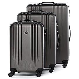 FERGÉ set di 3 valigie viaggio Marsiglia - bagaglio rigido dure leggera 3 pezzi valigetta 4 ruote grigio