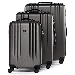 FERGÉ® Set di 3 valigie viaggio MARSIGLIA - leggero bagaglio rigido dure da 3 ABS duro tre pz. valigie con 4 ruote (multidirezionali 360°) grigio