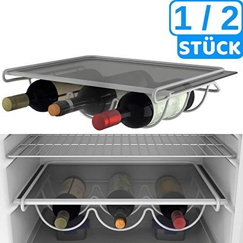 BEARTOP Weinhalter für z.B. Kühlschrank weiß lackiertes Metall | rostfrei | stabil | bis zu 3 Flaschen
