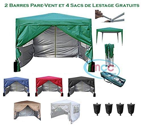 Mcc@home Gazébo/kioske/pavillon/ tente/tonnelle/auvent/abri de jardin résistant à l'eau, 3x3m, couleur verte avec couche protectrice argentée, 2 barres pare-vent et sacs de lestage