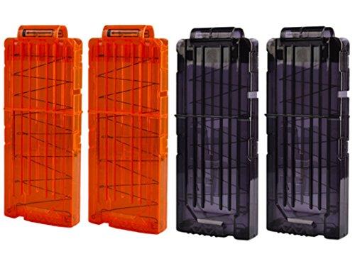 HONGCI 4Pcs Chargeurs Aux Pétoire Clips Recharge Rapide Clip pour Nerf Elite Series Toy Gun 12 Fléchettes Ammo Cartridge Fléchettes Nerf Gun Clips (2 Noir + 2 Orange)