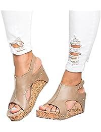 be4e92ec52128 Sandales Compensées Femme Plateforme Cuir Bout Ouvert Bohême Romaines  Espadrilles Chic Plage Legere Été Dames Chaussure