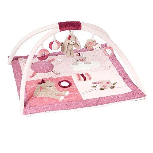 Nattou Gepolsterte Krabbeldecke mit Spielbogen, Mädchen, Rechteckig 80x70 cm, rosa - Nina, Jade und Lili