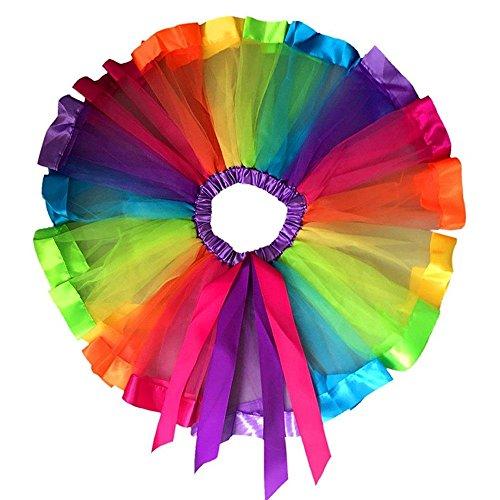 d Tochter passenden Regenbogen Bowknot Tutu Rock Prinzessin Petticoat (S (0-2 Jahre), Regenbogen-Tutu-Rock) ()