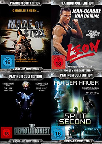 80er Kultfilme Platinum Actionpack - MADE OF STEEL + LEON + DEMOLITIONIST + SPLIT SECOND 9 Disc Deluxe DVD Schuber Collection