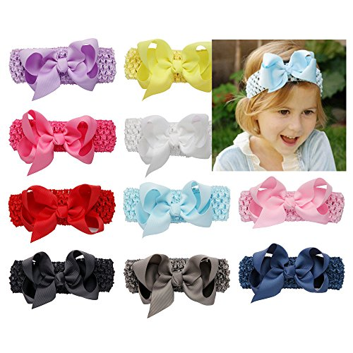 51zzqFMUAzL UK BEST BUY #1BaBallet Boutique Baby Girls Crochet Headbands with 4 inch Bows Set 10 Pack price Reviews uk