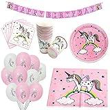 Zcoins kit Anniversaire Licorne Comprenant Nappe Licorne, bannière, Assiettes en Papier, gobelet, Serviettes de Table et Ballons, Collection Rose