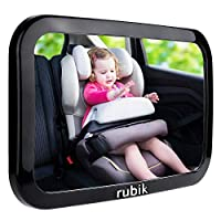 Rubik Baby Car Backseat Mirror, Safety Car Seat Mirror for Rear Facing Infant with Wide Crystal Clear View, Shatterproof, Fully Assembled, 360 Degree Adjustable