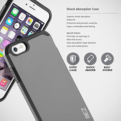 iPhone 6S Hülle, iPhone 6 Hülle, BEZ® Stoßfestes Etui, [Heavy Duty Serie] Outdoor Dual Layer Armor Case Handy Schutzhülle [Shockproof] robuste Hülle für iPhone 6 und iPhone 6S - Orange Silber