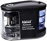 Eagle Multifunctional Automatic Pencil Sharpener, Battery Operated With Heavy Duty Helical Stainless Steel