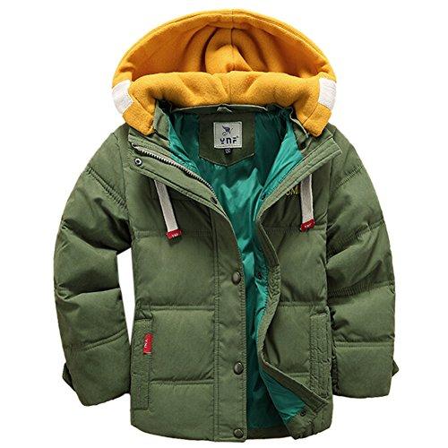 [Kinder Winterjacke mit Kapuze] Daunenjacke für Jungen Wintermantel Down Jacket Winter Jacket Wintermantel Mantel Parka Outerwear Grün 150