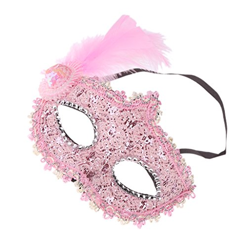 Gazechimp Feder Masken Masquerade Kostüm (Rosa Maske Kostüme Feder)