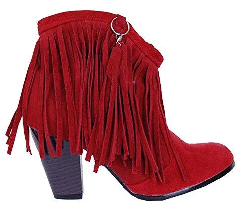 Hohen Stiefel Damen 2016 Nubukleder Schuhe Mit Absätzen Quaste Rot pxwFAHvUq