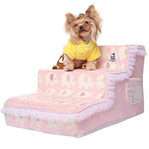 WJDM Elegante Prinzessin Spitze Hundebett Treppe Hund Treppe Treppe Treppe Haustier Treppe Weicher Plüsch Bezug Welpen Katze Leiter Bequemes Bett Treppe für Hunde -