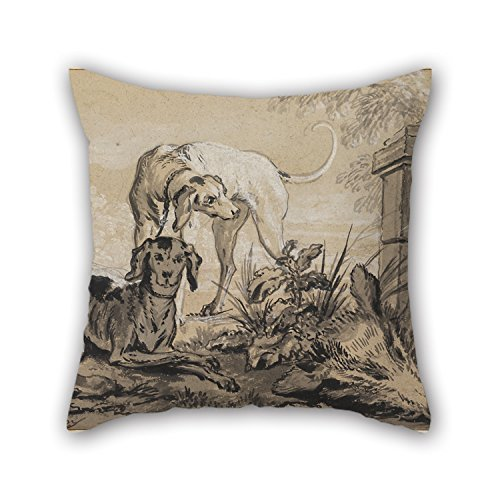 Pillowcase Of Oil Painting Jean-Baptiste Oudry - After The Hunt- Two Hounds Beside A Boar's Head 20 X 20 Inches / 50 By 50 Cm,best Fit For Wife,bar,father,dinning Room,teens,home Office Twin Sides -