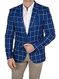 Herren Casual Sakko, Kariertes Muster Hahnentritt, Slim-Fit Blazer Einstecktuch, Einknopf Jackett, Größe 62, blau