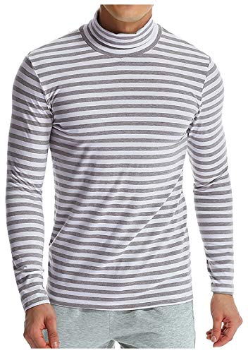 Stripe Long Sleeve Thermal (CuteRose Men Casual Shirt Stripes Oversized Long-Sleeve Mock Neck Tees Top Light Grey L)