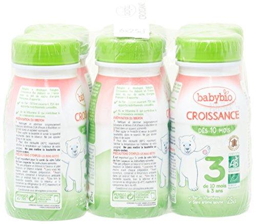 Babybio Lait de Croissance de 10 mois à 3 ans - pack de 6 bouteilles de 25cl - Lot de 3 (Total 18 Bouteilles)