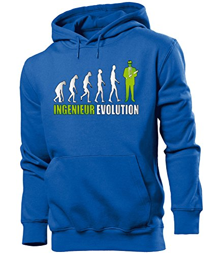Ingenieur Evolution 4668 Beruf Arbeit Kollege Job Herren Hoodie Blau Aufdruck Grün M