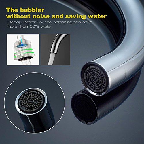 Auralum® 2 Jahre Garantie Niederdruck Mischbatterie mit Groß C Form 360° Drehbar Armatur Wasserhahn Küchearmatur Einhandmischer für Spüle Küche - 6