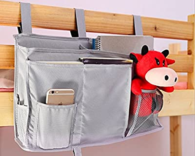 Bedside Caddy 8 Pockets Boy Bot Bed/Bunks Hanging Organiser Pocket for Cabin Beds Sofa Tidy Organiser Storage Bag for TV Remote Controller Apple iPad iPhone Tissue Kids diaper Toys Feeding Bottles, Black - cheap UK light shop.