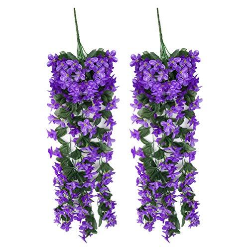Surepromise pianta artificiale edera,2 pezzi fiori artificiali 75 cm rampicante fiori seta per festa di matrimonio e la decorazione della parete di giardino