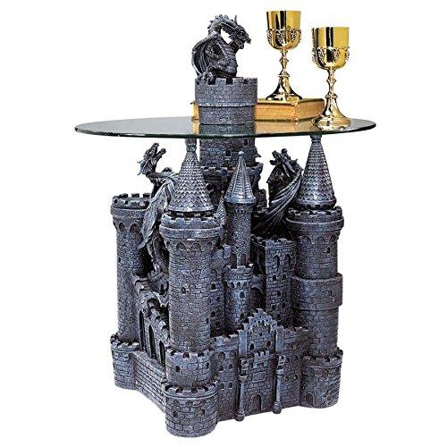 Design Toscano table sculpturale château de Lord Langton surmonté de verre