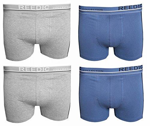 Reedic Herren Boxershorts, Baumwolle, 4er Pack je 2x blau, grau