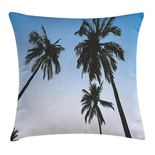 Nizefuture Palm Tree Decor Throw Pillow Cushion Cover by, Vintage Filtered Upward Coconut Trees Photo Angeles Island Beach Theme, Decorative Square Accent Pillow Case, 18 X 18 Inches, Green Blue (Green Ninjago Namen)