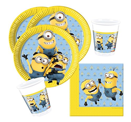 36-teiliges Party-Set Minions - Lovely Minions - Teller Becher Servietten für 8 (Dekorationen Despicable Geburtstag Me)