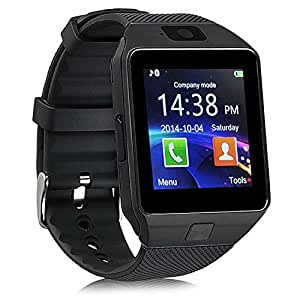 Mobilefit Bluetooth Smartwatch (Black) With Camera & Sim Card Support & Supporting Apps Like Twitter, Whats App, Facebook, Touch Screen Multilanguage Android/IOS Mobile Phone Wrist Watch Phone with activity trackers and fitness band features Compatible for Lava Iris 401