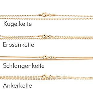 Kette rosegold aus 925 Silber vergoldet ❤️ Damenkette ❤️ Kugelkette Erbsenkette Ankerkette Schlangenkette ❤️ Kette für Anhänger Kinder Frauen 38cm, 42cm, 45cm, 50cm, 60cm, 70cm